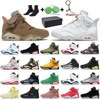 Nike Air Jordan 6 6s Retro Travis Scott 6 2020 تكنولوجيا كروم هير مع صندوق Jumpman أحذية الرجال لكرة السلة الحريرالأردنالرجعية ترافيس الأسود الأشعة تحت الحمراء اضية