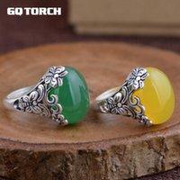 الاسترليني الفضة الأحجار الكريمة خواتم للنساء منحوتة خمر فراشة الزهور الأصفر الأخضر العقيق الطبيعة الحجر الكتلة
