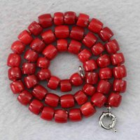 """Natural Red Coral 8-10mm Irregular Cube Abacus Rondelle Beads Jewelry Necklace 18"""" B1023 Chains"""