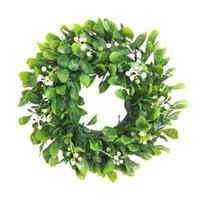 نافذة الجدار شرفة جارلاند الدائري الأزهار الاصطناعي اكليلا من التوت الأبيض شنقا لحفل الزفاف الاحتفال عيد الميلاد أكاليل الزخرفية