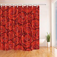Shower Curtains Flower Rose Curtain Lovely Beautiful Elegant Red Roses Transparent Dew Bathroom Waterproof