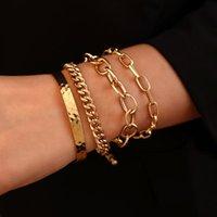 Link, Chain Flashbuy Adjustable 4pcs set Punk Bangle Bracelets Sets Women Male Vintage Personality Gold Color Set Jewelry Pulseira