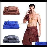 Textiles Home & Gardenluxury Mens Set With Pocket Swimming Beach Soft Microfiber Men Fast Drying Wearable Towel Shower Bath Wrap Body Drop D