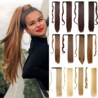 Long Straight Ponytail Wrap Around Clip in Hair Extensions Natural Hairpiece Headwear Synthetic Brown Gray 613