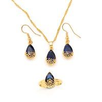 18K Fine Gold Filled Water Drop purple Crystal Jewellery Set Pendant Necklace Earrings Ring cz big Rectangle Gem with Channel