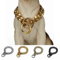 개 금속 칼라 P 체인 골드 스테인레스 스틸 애완 동물 강아지 체인 칼라 금속 목걸이 19mm 너비 강한 큰 개 collars pitdog 210325