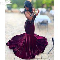 2021 Plus Size Arabic Aso Ebi Burgundy Lace Mermaid Prom Dresses Sheer Neck Velvet Evening Formal Party Gowns Second Reception