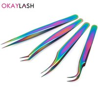 Straight Curved Nails Tools Eyelash Extension Precison Tweezers Stainless Lash Pliers Nippers Pointed Clip Makeup Set Eyebrow & Stencils
