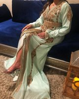 Moroccan Caftan Evening Dresses A Line With Handbeading Long Sleeeve Prom Party Gowns