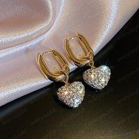 Temperament Alloy Rhinestone Love Dangle Earrings for Women Pendant Fashion Jewelry Girls Party Travel Ear Accessories Gift