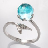 Zhen Rong Mermaid Foam Ring Tiktok S925 Blaue Kristall Fischschwanz Rot RXVX