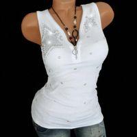 Women Lady Hot Drill Zipper Sleeveless Vest Tank Blouse Pullover Top Shirt Women Lace Vest Sleeveless Loose Crop Gilet dete57 x0ZH#