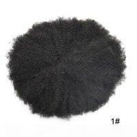 Corte de pelo humano indio Color natural 10mm Afro Curly Hair Style Men Toupee Raw Reemplazo Pieza de pelo para hombre negro