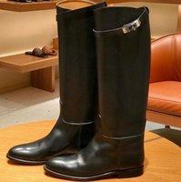 Ünlü Özel Ayakkabı Paris Sokak Moda Klasik Atlama Diz Çizmeler Kadın Hakiki Deri Süet Tasarımcı Düşük Topuklu Siyah Kahverengi Şövalye Çizme Boyutu 34-41