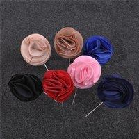 Pins, Brooches Women Jewelry Flower Brooch 5Pcs Lot Handmade Fabric Modern Corsage Men Lapel Pin For Wedding