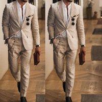 Summer Casual Men Beige Cotton Linen Grooms Tuxedo Prom Party Dinner Suit Business Work Wear Male Blazer Jacket & Pants