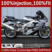 Spritzgusskörper für Kawasaki Ninja 600cc Zzr600 05 06 07 08 Körperarbeit 38HC.44 100% Fit ZZR-600 600 CC 05-08 ZZR 600 2005 2006 2007 2008 OEM Verkleidung Kit glänzend silbrig