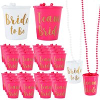Mugs 5pcs lot Team Bride Plastic Cup For Bridal Shower Wedding Party To Be Drinking Hen Night Bachelorette Decoration