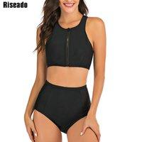 Riseado ملابس السباحة الرياضية النساء 2021 ارتفاع مخصر قطعتين المايوه السوداء البيكينيات سستة الرياح الاستحمام الدعاوى الصيف الشاطئ 210318