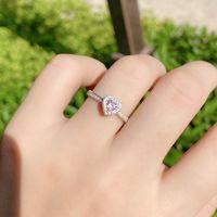 الحب الدائري الوردي الماس وعد 925 الاسترليني الفضة الاشتباك حلقات القلب حلقات الزفاف للنساء