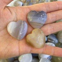 3pcs Natural Agate Heart Shape Massage Quartz Crystal Mineral Reiki Healing 30mm Decorative Objects & Figurines