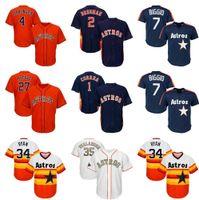 Houston / Astros 4 George Springer Jersey 2 Alex Bregman genäht 27 Jose Altuve Justin Verländer Jerseys Jeff Bagwell Nolan Ryan Baseball Männer / Frauen / Kinder