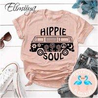Eliminiya Hippie Soul Femme T-shirt T-shirt À Manches courtes surdimensionnées Imprimé O-Cou Tshirt Femme Casual Dames Tops T-shirts Femmes 210323
