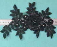 6 pcs preto roupas costurando noções applique, 3d guipure lace applique guarnição bretel bretel applique