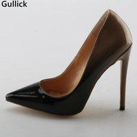 Gullick Black High Heel Bombas de cuero puntiagudo 12 cm Slip-on Slip-on Women Stiletto Dress Shoes Sexy Big Big Size