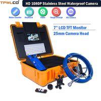"""ماء 25 ملليمتر التفتيش الصناعي كاميرا 7 """"LCD TFT استنزاف نظام 20 متر كابل مع لوحة المفاتيح / DVR / الشمس قناع كاميرات IP"""