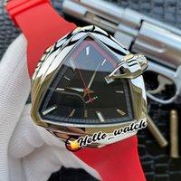44mm Ventura Elvis80 H245331 H24551731 Saatler Otomatik Erkek İzle Siyah Kadran Çelik Kılıf Gri İç Kırmızı Kauçuk Kayış Spor HWHM Hello_Watch