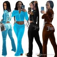 Designer Women Sweatpants And Hoodie Set Tracksuits Golden Velvet Juicy Hot Diamond Letter Leisure Joggers Casual 2 Two Piece Pants Set