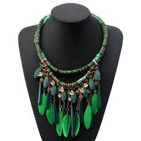 Farben Frauen Schmuck Ethnische Art Halskette Doppel Seil Kette Feder Acryl Anhänger BIB Choker Kragen Aussage Halsketten