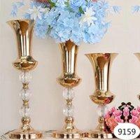 Vases Gold Iron Flower Vase, Big Luxury Cylinder Vase For Display, Tabletop Decoration Wedding