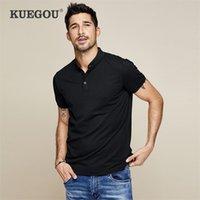 KUEGOU 100 % 코튼 남성용 폴로 셔츠 반팔 옷깃 슬림 블랙 화이트 폴로스 남성 여름 탑 플러스 사이즈 MT-2524 210329