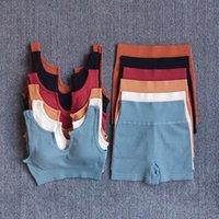 Yoga Outfit Склады Высокая Талия Шорты Шорты Без бесшовные Спортивный Костюм Тренажерный зал Фитнес Женщины Бюстгальтер Ребристые Тренировки Настройки Настройки