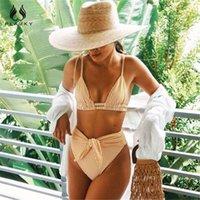 Купальники Plavky Sexy High хвостовой ремень бикини набор 2021 желтый полоса для женщин мода женский пляж плавание