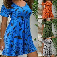 Dress Womens Bohemian Casual O Neck Short Sleeve Leaves Print Loose Streetwear A-line Ladies Beach Mini Dresses