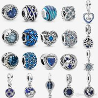 925 Sterling Silver Winter Blue Ice Cube Charm Dazzling Wishes Dangle Charms Fit Pandora Original Bracelets Bangle Jewelry Making Christmas Gift