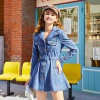 Fall Denim A-line Dress For Women Long Sleeve Mini Dresses Belted Blue Elegant Jeans Vestidos Female W037 Casual