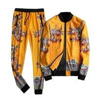 Men's Tracksuits Luxury Gold Dragon Fall Tracksuit Men Conjunto Deportivo Hombre Ensemble Homme Designer Fancy Fashion Menswear (jacket+pant