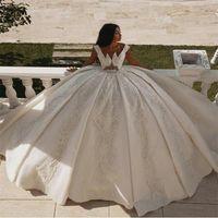 الفاخرة دبي الكرة ثوب الزفاف فساتين الزفاف الخامس الرقبة الرباط appliqued أثواب الزفاف أنيقة العرف مخصص vestidos دي نوفيا