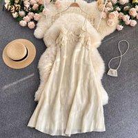 Neploe Summer New 2021 Beach Holiday Chiffon Female Robe Sleeveless V Collar Solid Women Vestidos Pleated Sundress Fashion Dress C0607