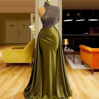 High Neck Army Green Mermaid Evening Dresses Attached Overskirt Beads Long Prom Gowns 2021 Noble Formal Party Dress