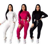 Echoine Herbst Winter Frauen Trainingsanzug 2 Stück Set Crop Top Hose Set Sportwear Matching Workout Sweat Suits Frauen Joggen