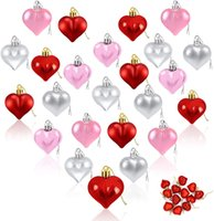 24 pezzi ornamenti cardiaci, 2021 decorazioni di San Valentino, decorazioni cardiache, ornamenti a forma di cuore a forma di cuore rosa rosa