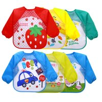 Baby Toddler Bib Overall Waterproof Burp Cloths Long Sleeve Cartoon Children Kid Feeding Smock Apron Eating Clothes 18 Colors