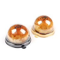 Boîte à gâteaux en plastique rond Boîte d'emballage d'emballage d'œufs d'œufs Biscuits d'or noire en plastique doré pour invités FERS Favors CCF5708
