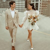 2022 Designer Short Wedding Dress A Line Puff Long Sleeves Illusion Outdoor Bridal Gowns High Collar Mini Length Backless Younger Marriage Dresses
