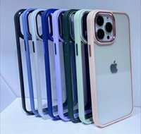Clear PC Soft TPU Cell Phone Cases Electroplating Camera Protection Shockproof Cellphone Cover for iPhone 11 12 13 Pro Max Xr Xsmax 7 8Plus